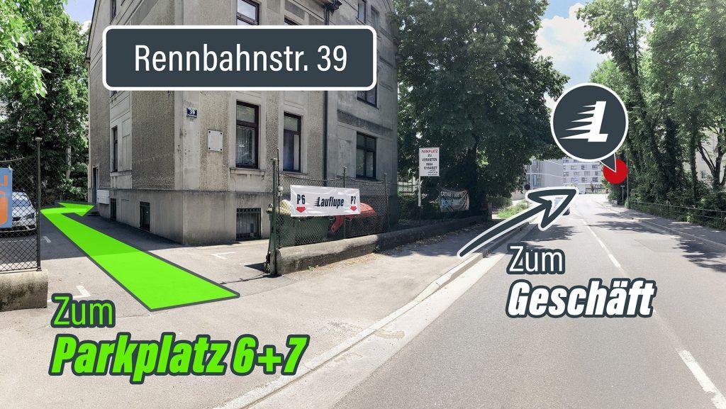 Zufahrt Parkplatz Rennbahnstraße 39